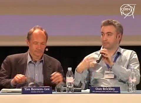 Danbri and TimBL at CERN press conference